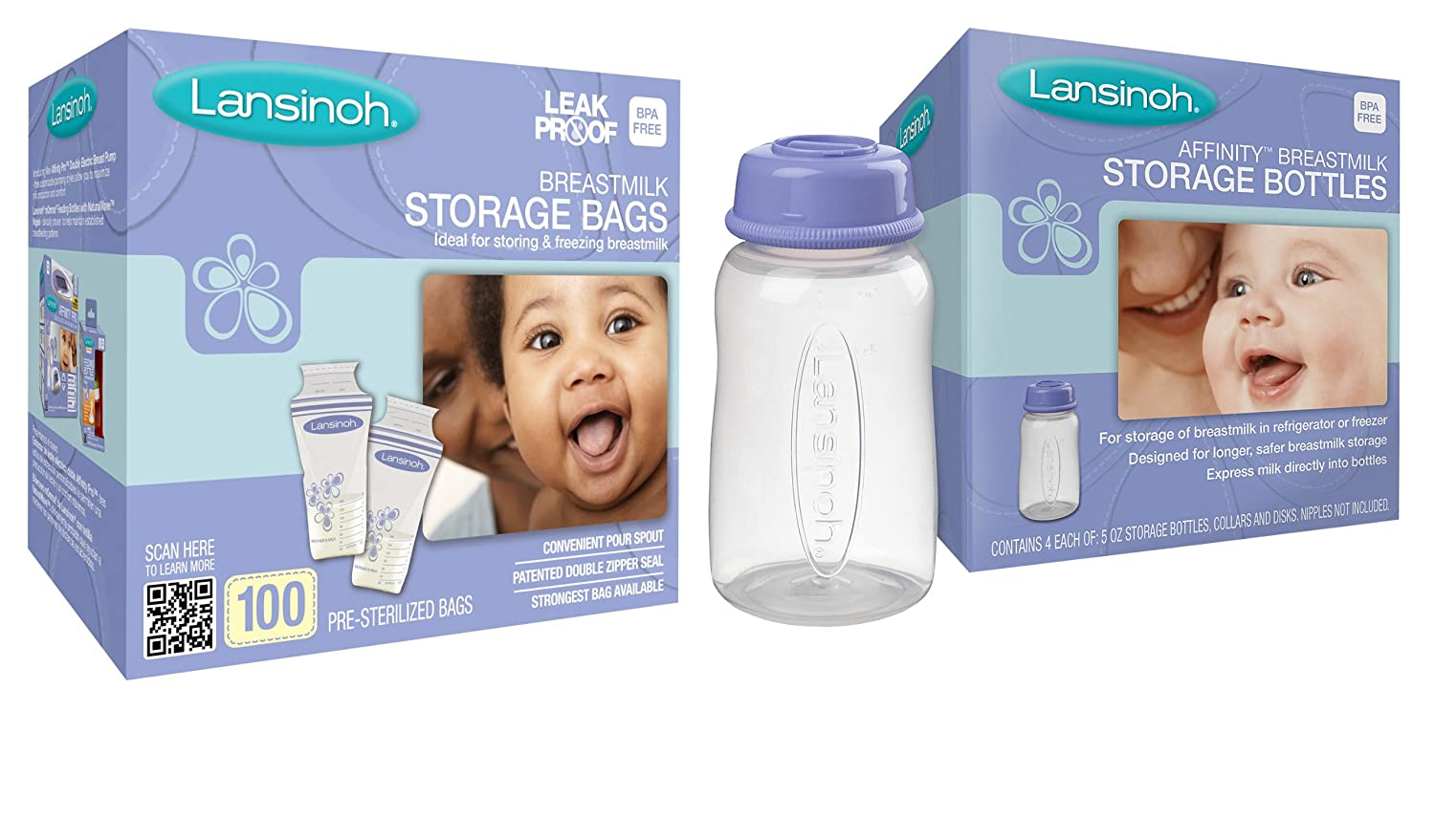 Lansinoh Breastmilk Storage Bags, 100 Count with 4 Storage Bottles