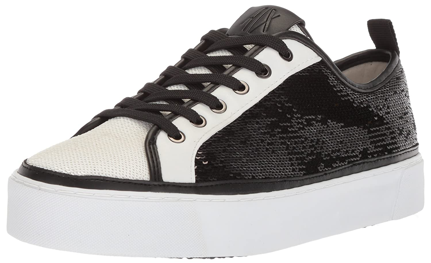 A|X Armani Exchange Women's Sequined Low Cut Sneaker B0749WD1L7 7 B(M) US|Bianco/Nero