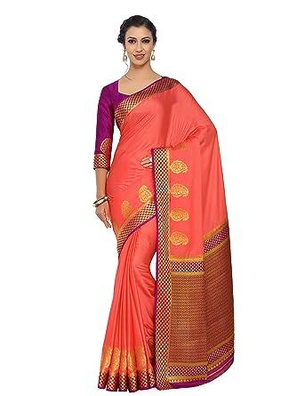 1765c93d635960 Mimosa Art Crape silk saree Kanjivarm Pattu style With Contrast Blouse  Color: Orange (4246-2108-2D-PCH-MEJ): Amazon.in: Clothing & Accessories