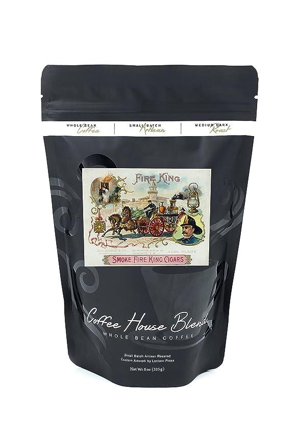 Fire King Marca Cigar Box etiqueta - Bomberos con motor de caballo, cerámica, Multicolor, 4 Coaster Set: Amazon.es: Hogar