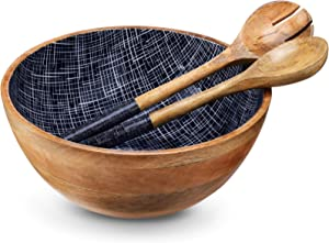 Wooden Salad Bowl or Mixing Bowls with Serving Tongs, Large Serving Bowls for Fruits, Salad, Cereal or Pasta, Large Mixing Bowl Set, 12