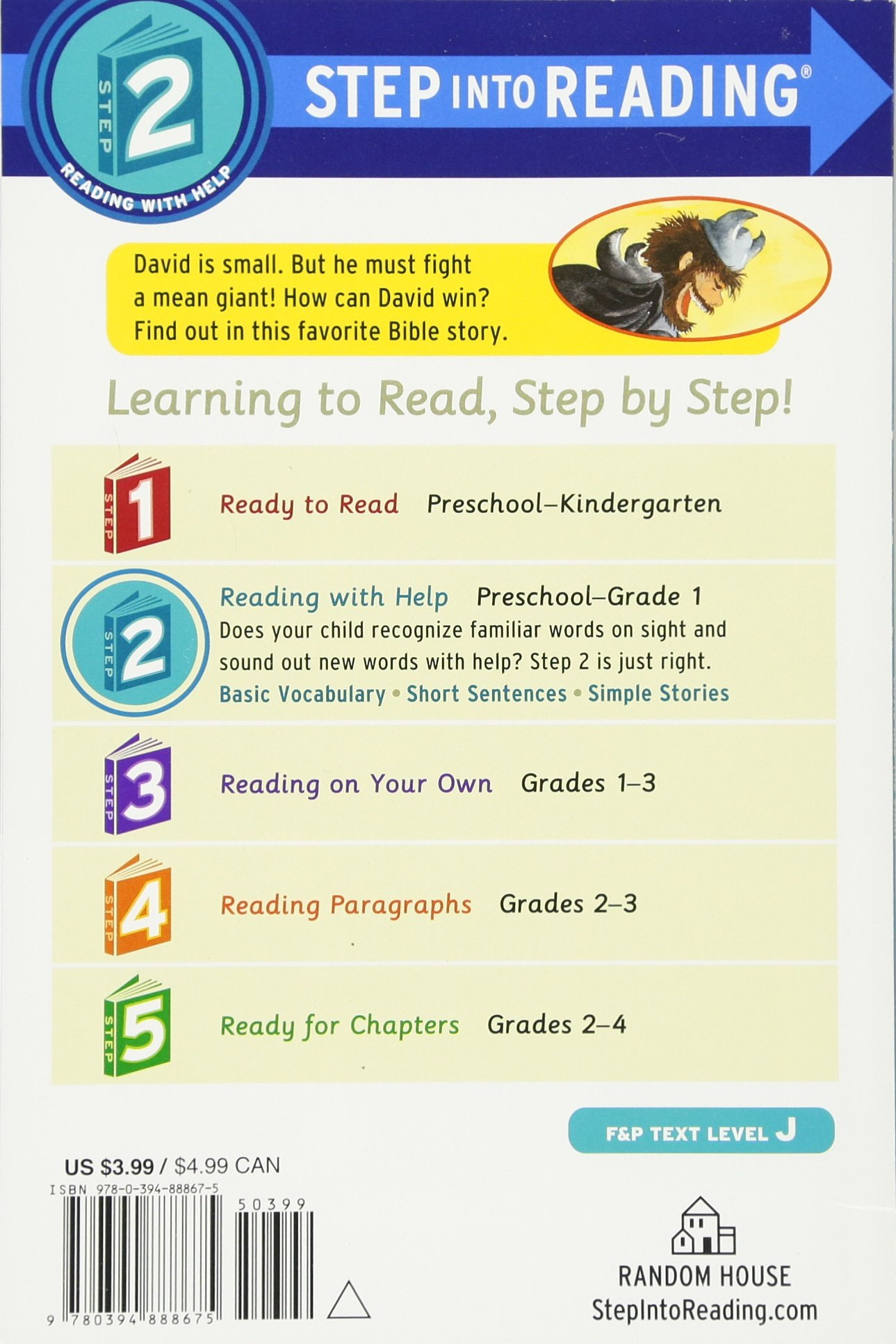 amazon com david and the giant step into reading step 2