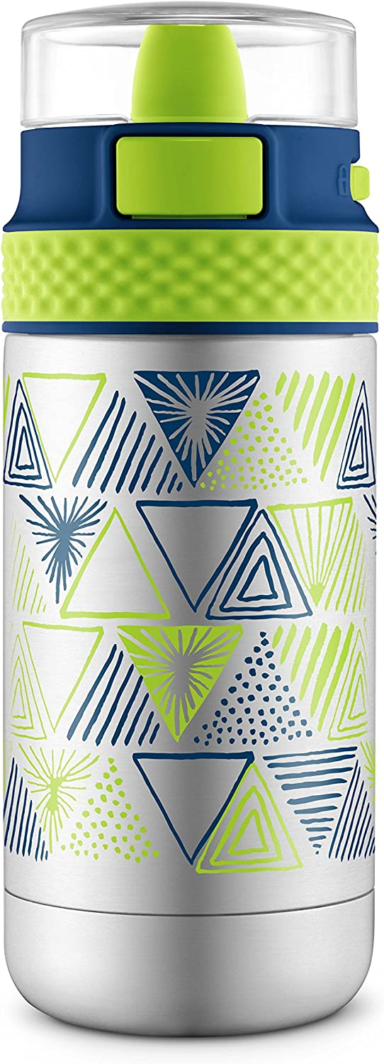 Ello Ride Vacuum Insulated Stainless Steel Water Bottle with One-Touch Push Button, 14 oz, Navy/Green