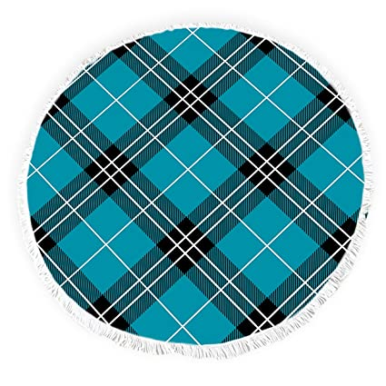 Yun Nist Toallas de playa redondas con borlas escocesas antiguas escocesas de tartán con flecos círculo