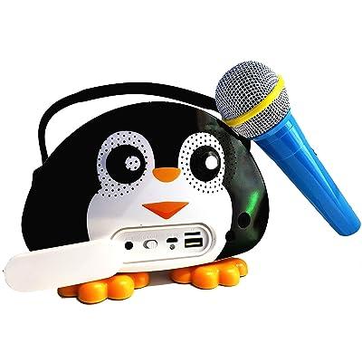 Altavoz portátil infantil modo karaoke con micrófono y asa para transportar. Altavoz para niños con funcion USB, tarjeta Sd, y Radio con forma de muñeco. Altavoz inalambrico ideal para niños. Negro
