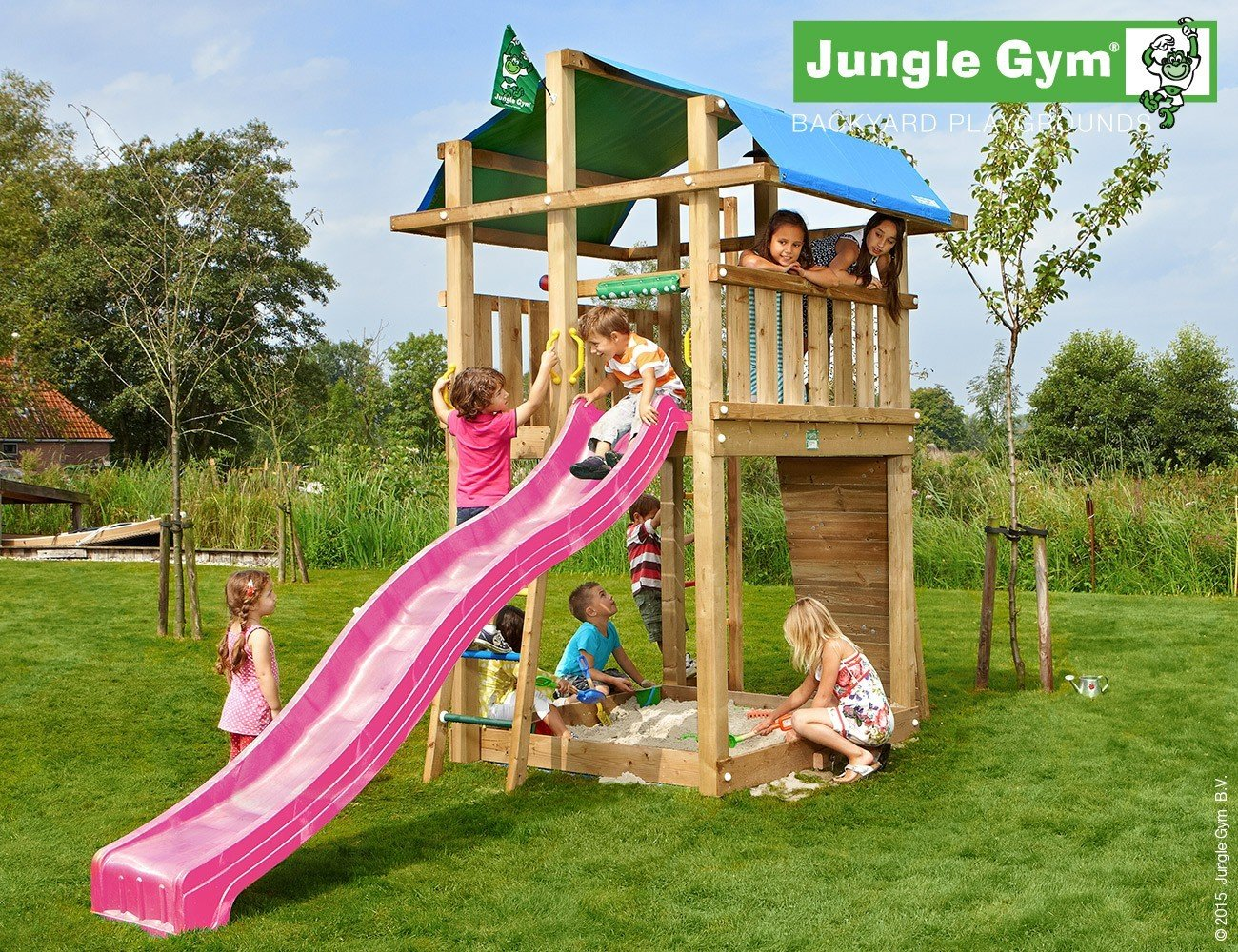 JUNGLE GYM Spielturm Jungle FORT mit Wellen-Rutsche, Gesamtmaße (B/T/H): 200/440/300 cm