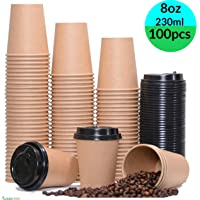 8oz, 228ml, 2 Sets 8oz, 228ml, 2 Sample Sets Hot Beverages and Cold Drinks Take-Away Leak Proof Tea Office Wedding Holiday Party| Recyclable Friendly Disposable Paper Coffee Cups with Lids