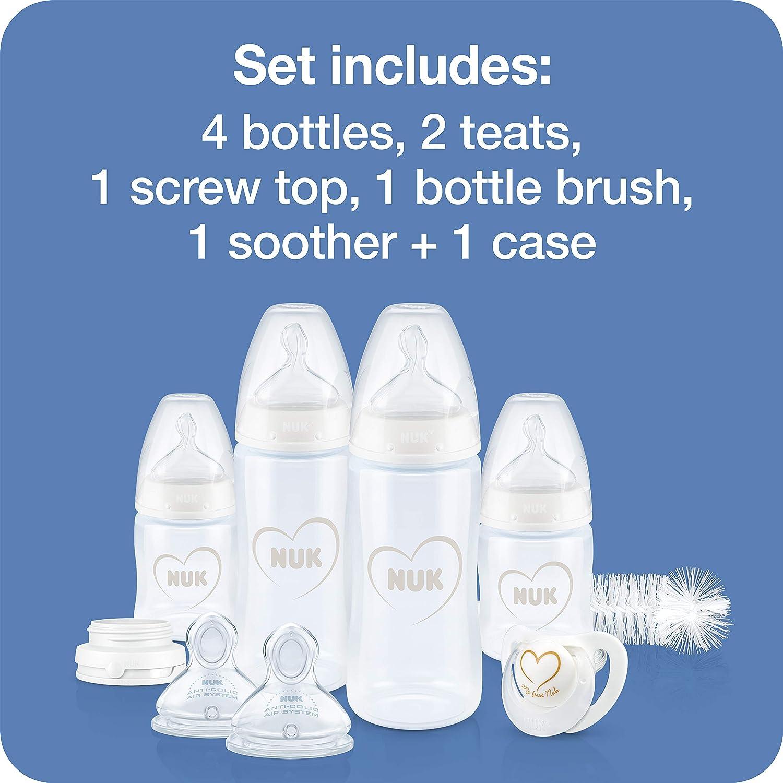 Set de 4 Biberons avec Contr/ôle de Temp/érature//Sucette//Goupillon /à Biberon plus d/'Autres Accessoires sans BPA Gris//Blanc 0-6/Mois 10 Unit/és NUK Perfect Start First Choice