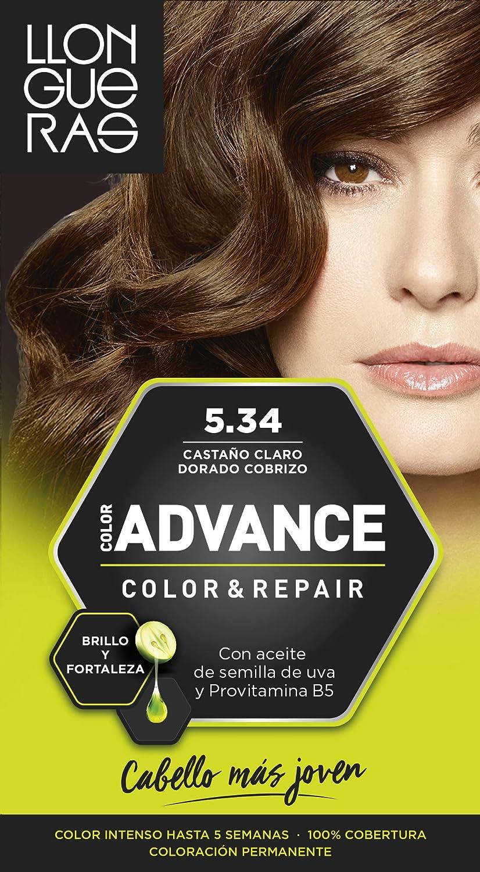 Llongueras Advance Tinte de Cabello Permanente Tono #5.34 Castaño Claro Dorado Cobrizo