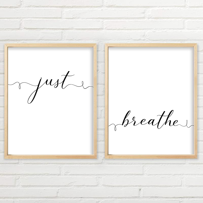 -pieces Black and White Minimalist Printable Wall Art Two Inhale /& Exhale Peaceful Meditation Hand Lettering Home Decor 2