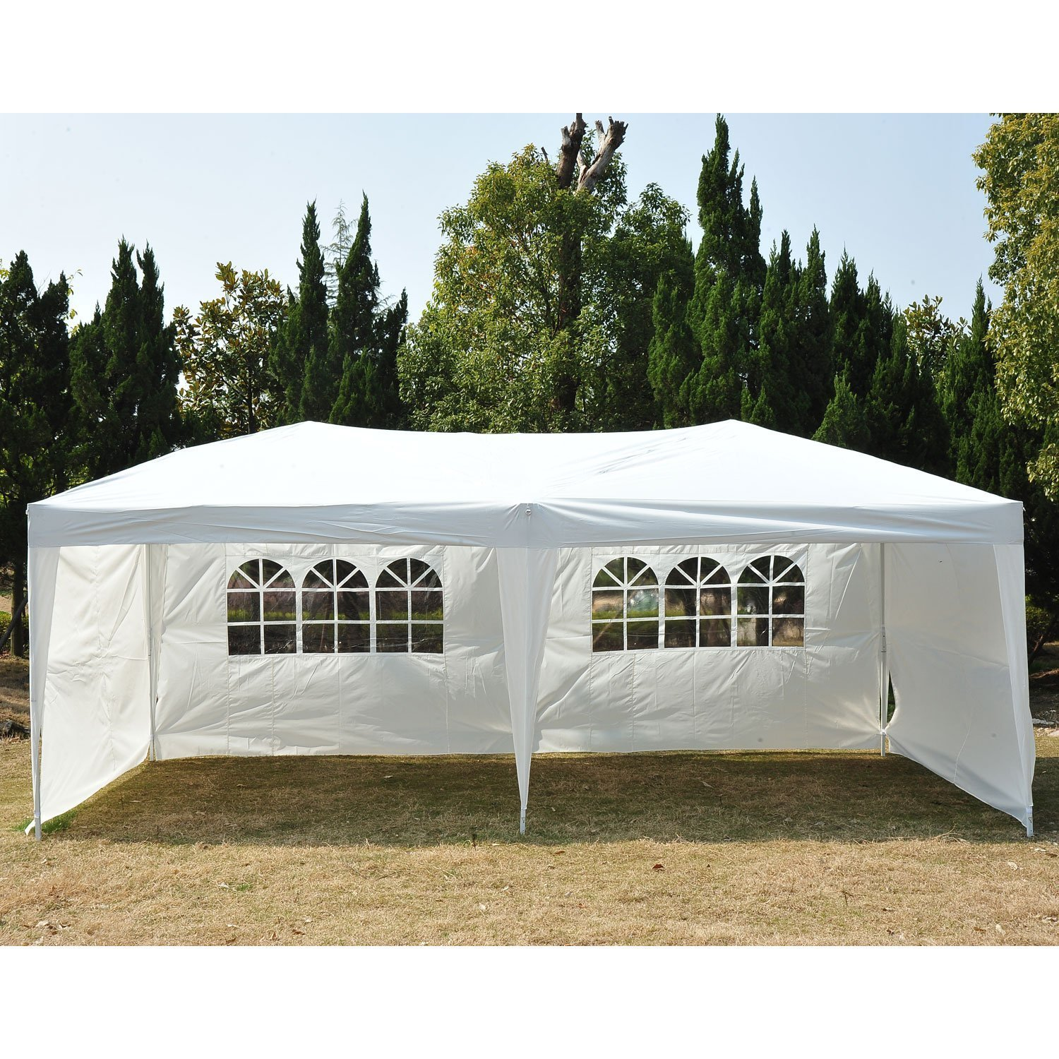 Outsunny Easy Pop Up Canopy Party Tent, Coffee Brown with 4 Removable Sidewalls, 10-Feet x 20-Feet 01-0283