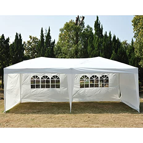 Outsunny Easy Pop Up Canopy Party Tent 10 X 20 Feet White With