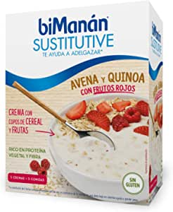 BiManán - Crema Sustitutiva de Avena y Quinoa con Frutos Rojos, para ayudarte a controlar tu peso - Caja de 5 unidades