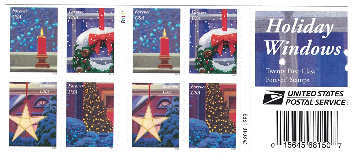 Usps Christmas Stamps.Usps Holiday Windows Forever Stamps Book Of 20