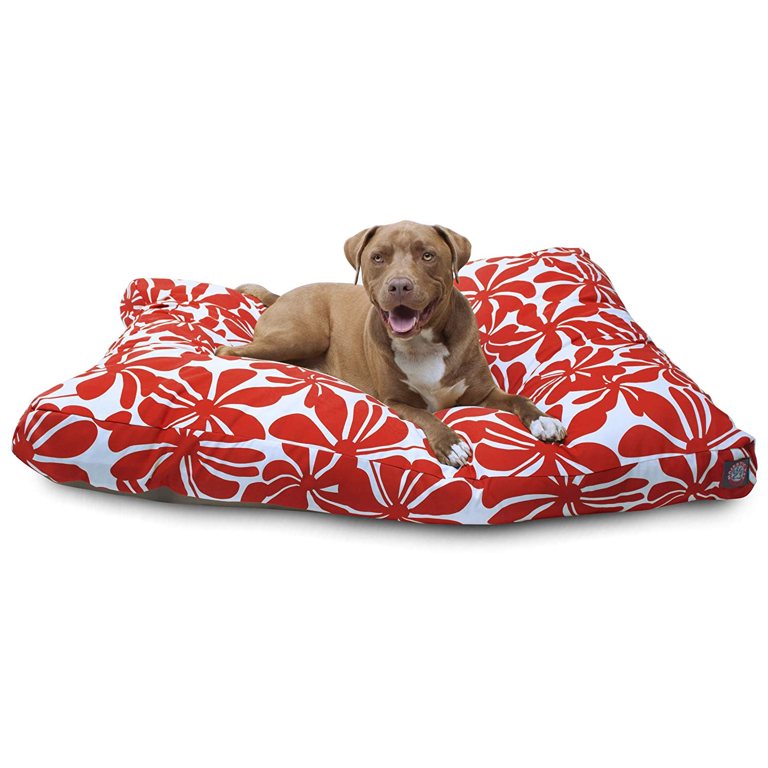 Red XLMajestic Pet Sage Plantation Small Rectangle Indoor Outdoor Pet Dog Bed With Removable Washable Cover Products