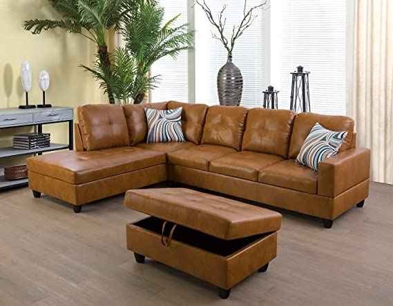 Lifestyle Furniture Left Facing 3pc Sectional Sofa Set L Shape Living Room Couch Faux Leather Ginger Furniture Decor Amazon Com