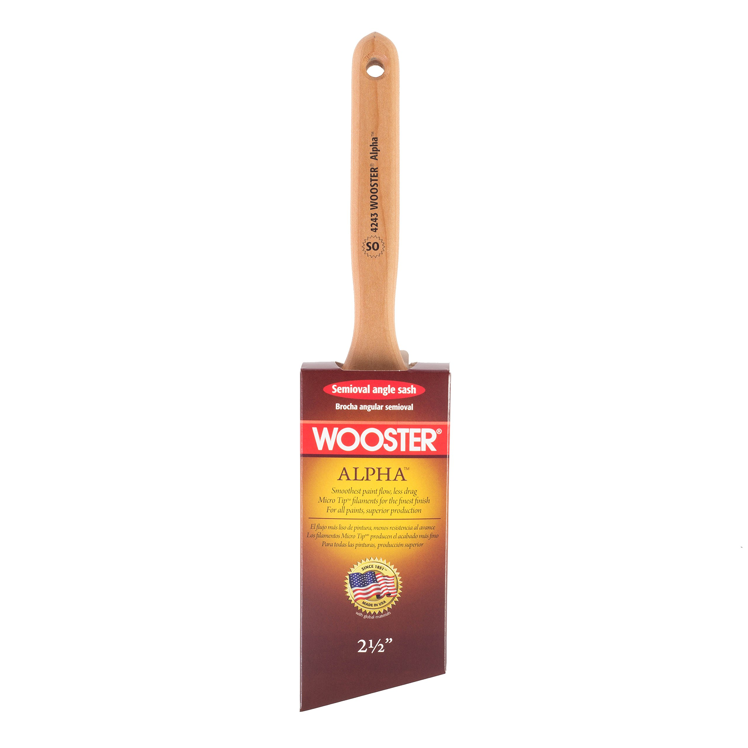 Wooster Brush 4243-2 1/2 Alpha Semi-Oval Angle Sash Paintbrush, 2-1/2-Inch
