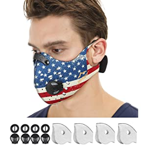 NHForest Dust Mask | Mouth Mask Respirator with 4 Carbon N99 Filters for Pollution Pollen Allergy Woodworking Mowing Running | Washable and Reusable Neoprene and Outdoor (U.S.A)