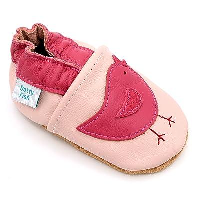 631b39af71f10 Dotty Fish Chaussures Cuir Souple bébé et Bambin. Filles. Oiseaux Roses. 0-