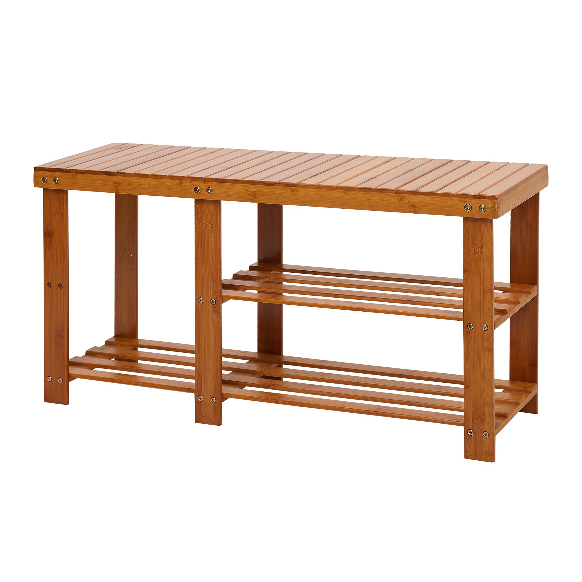 Lucky Tree 2-Tire Freestanding Shelves Boot Shoe Storage Bamboo Bench for Entryway Front Door Shoes Organizer Rack Seat