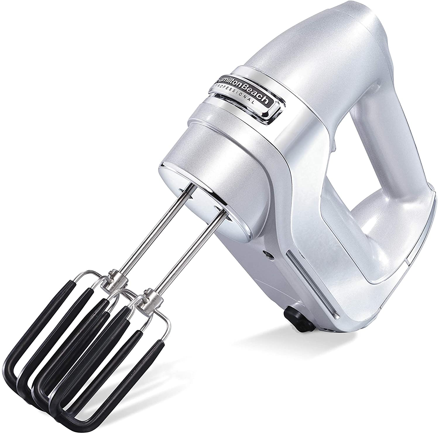 Hamilton Beach Professional 7-Speed Electric Hand Mixer with Snap-On Storage Case, SoftScrape Beaters, Whisk, Dough Hooks, Silver (62657)