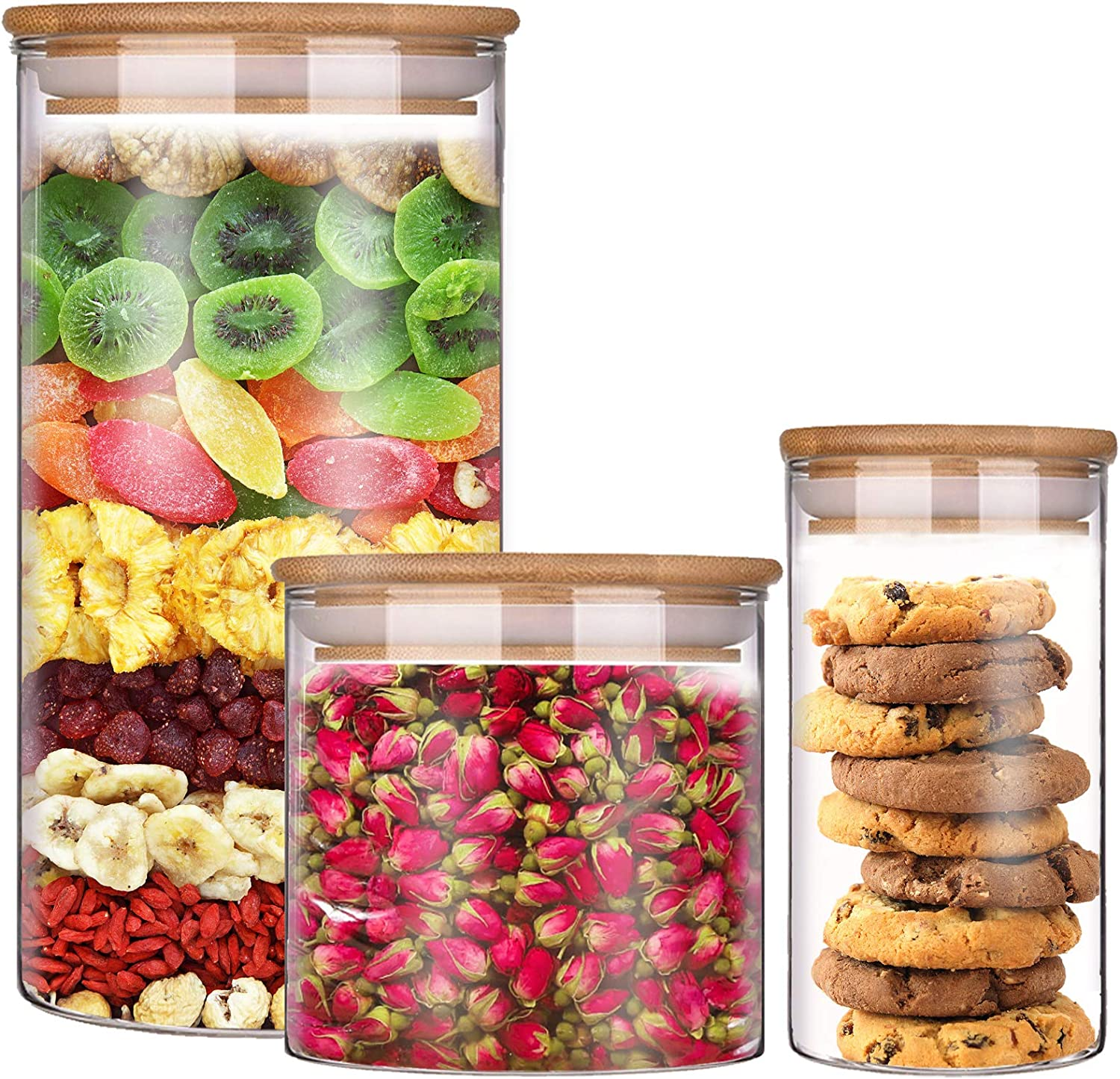 Tuzazo Stackable Kitchen Canisters Set of 3,13oz/24oz/54oz - Clear Glass Food Storage Jars Containers with Airtight Bamboo Lid for Candy, Cookie, Rice, Sugar, Flour, Pasta, Nuts