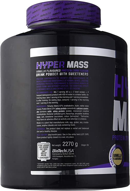 BioTech Hyper Mass Mezcla de Proteínas, Sabor Vainilla - 2270 gr