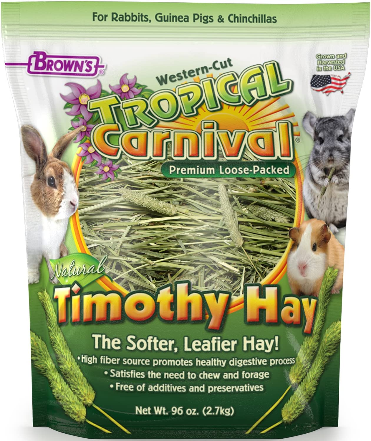 F.M. Brown's Tropical Carnival Natural Timothy Hay for Guinea Pigs, Rabbits, and Other Small Animals, with High Fiber for Healthy Digestion - 96 oz