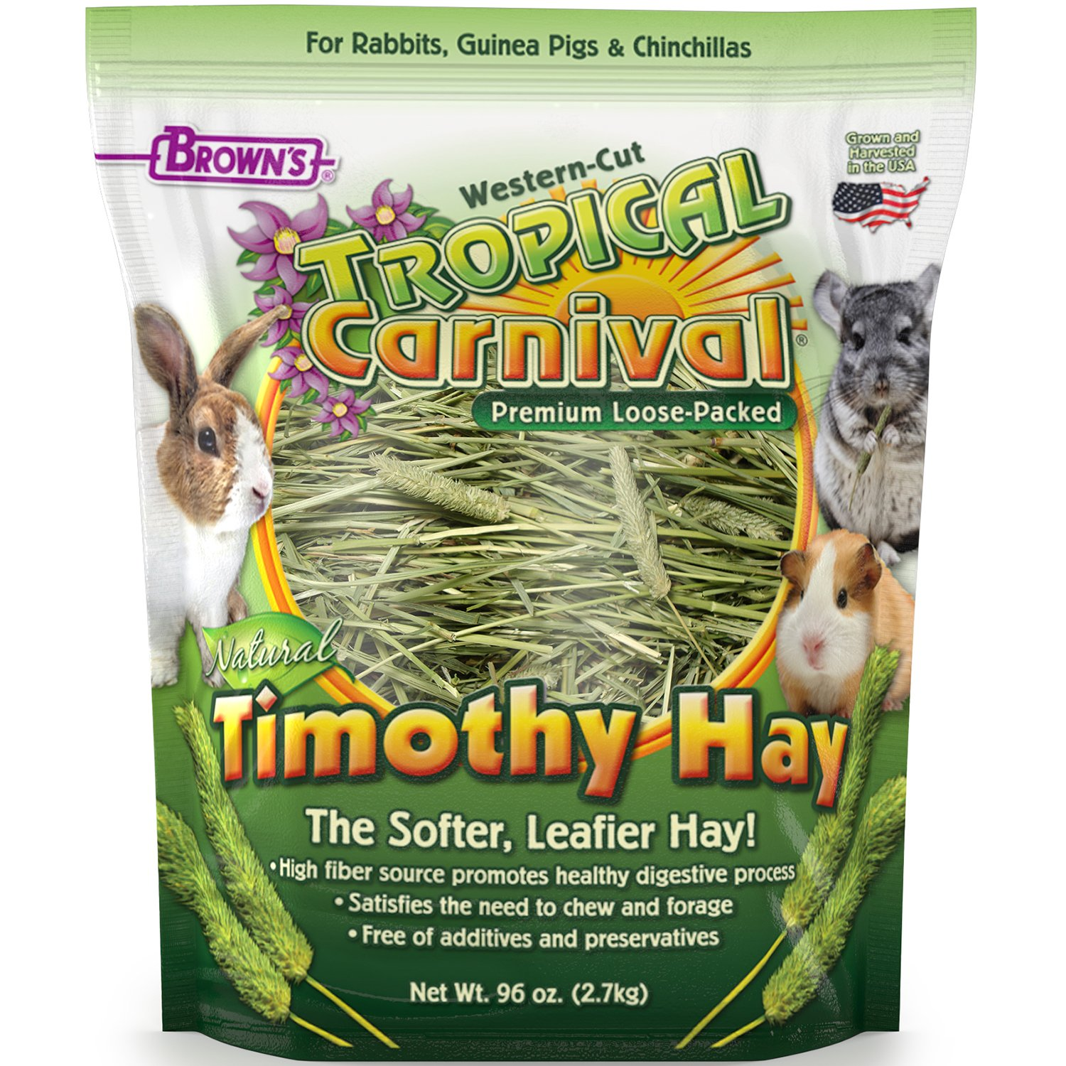 F.M. Brown's Tropical Carnival Natural Timothy Hay for Guinea Pigs, Rabbits, and Other Small Animals - High Fiber for Healthy Digestion by Tropical Carnival