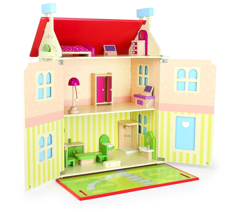 small foot 10736 Puppenhaus aus Holz auf DREI Etagen, mit abnehmbares Dach und aufklappbaren Wänden für leichtes Bespielen, inkl. ZWeißPuppen und 15 Möbelstücken und Gartenplatte