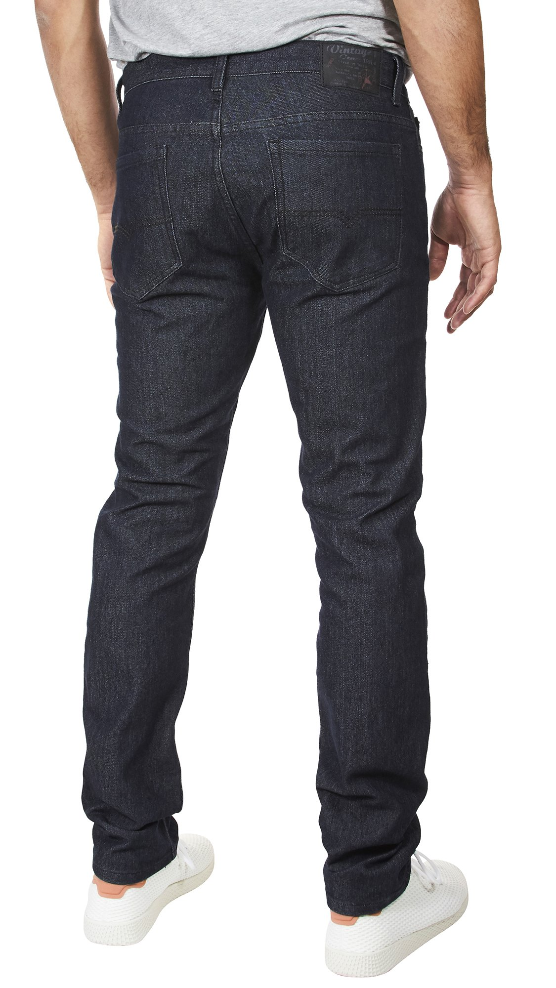 VINTAGE GENES 1891 Mens Stretch Skinny Washed Denim Jeans, Dark Enzyme Blue 34x32 by VINTAGE GENES (Image #3)