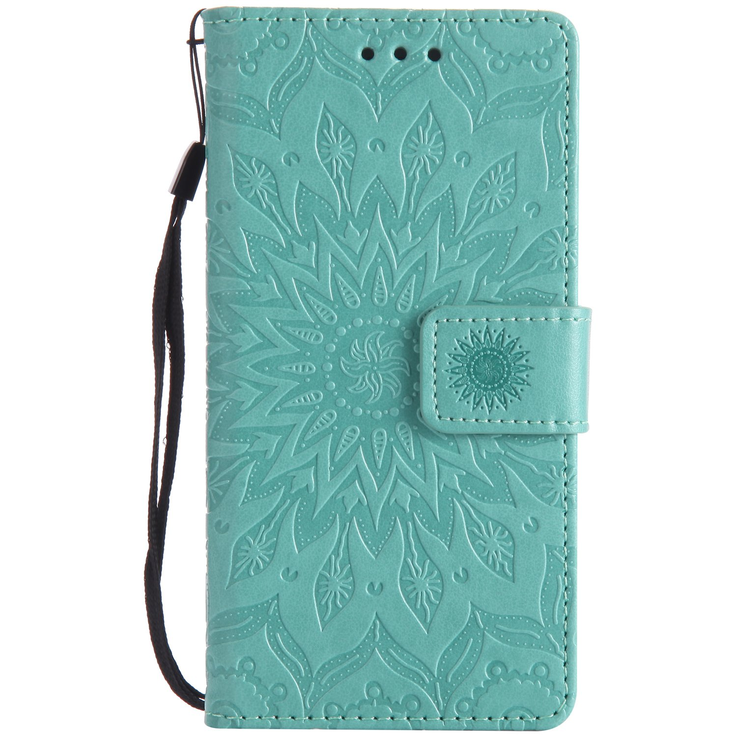 Sony Xperia M2 Case,Sony Xperia M2 Stand Case,Xperia M2 Wallet Flip Case,SKYMARS Sunflower Beautiful Art Painted Pattern Embossing PU Leather Fold Wallet Pouch Case Flip Stand Credit Card ID Book Style Protective Case Cover for Sony Xperia M2 Sunflower Blu