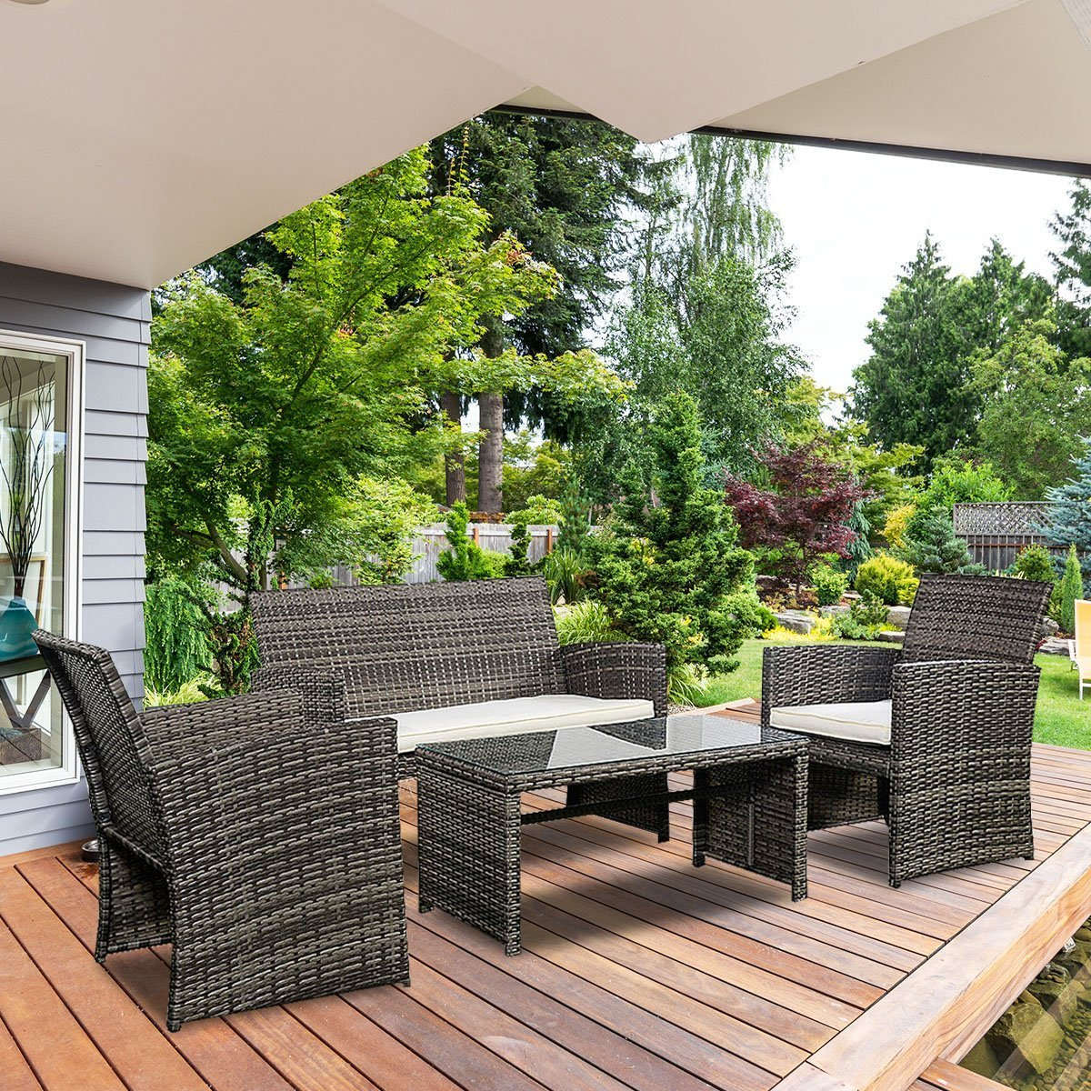 Goplus 4 PC Rattan Patio Furniture Set Garden Lawn Sofa Cushioned Seat Wicker Sofa (Mix Gray) by Goplus (Image #3)