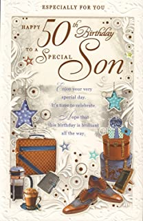 Happy 50th birthday son card elegant mens lovely verse male mens age happy 50th birthday to a special son card bookmarktalkfo Image collections