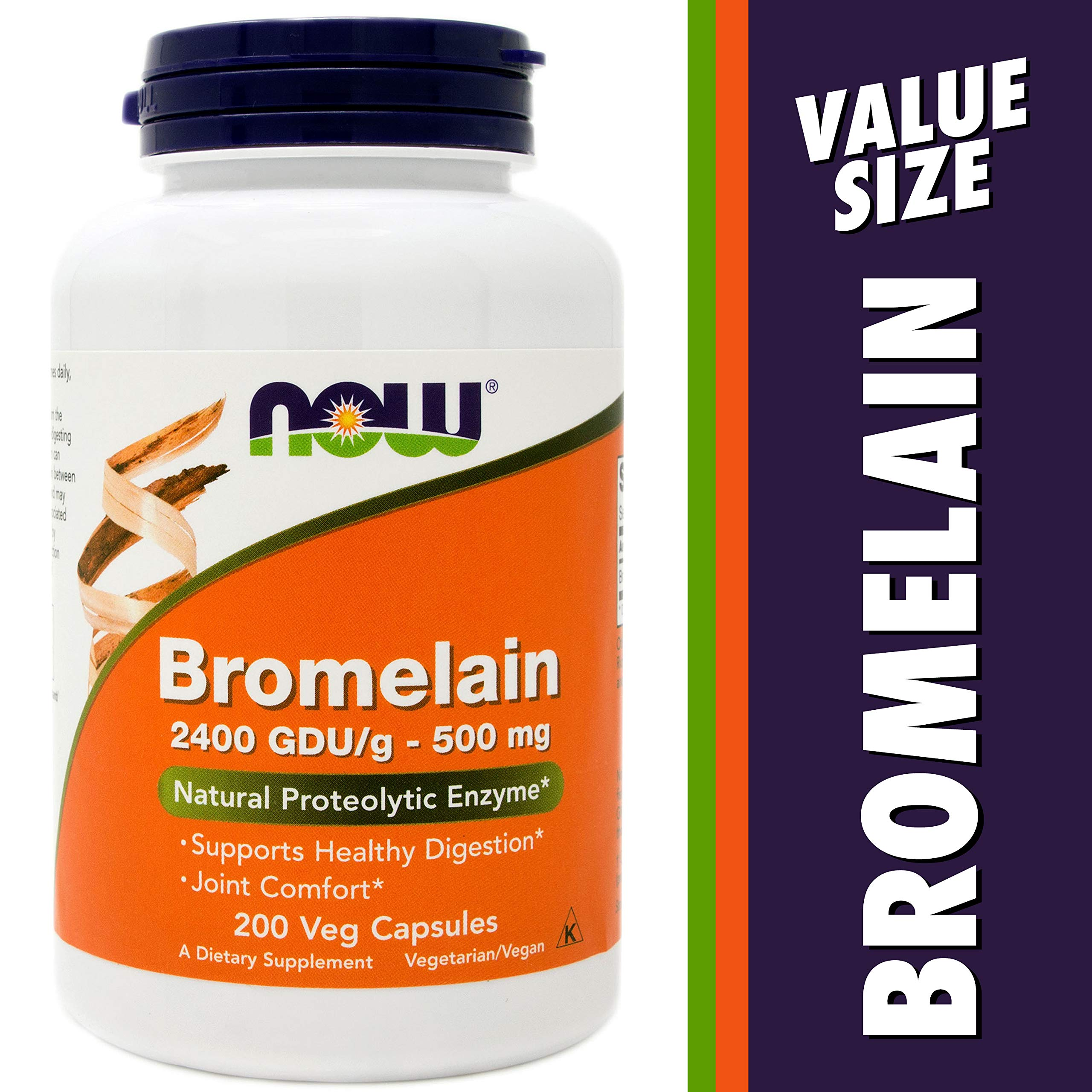 Now Bromelain 500 mg, 200 Veg Capsules - Natural Pineapple, Proteolytic Enzyme Supplement, 2400 GDU