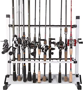 One Bass Fishing Rod Rack Metal Aluminum Alloy Fishing Rod Organizer Portable Fishing Rod Holder for All Type Fishing Pole, Hold Up to 12 or 24 Rods