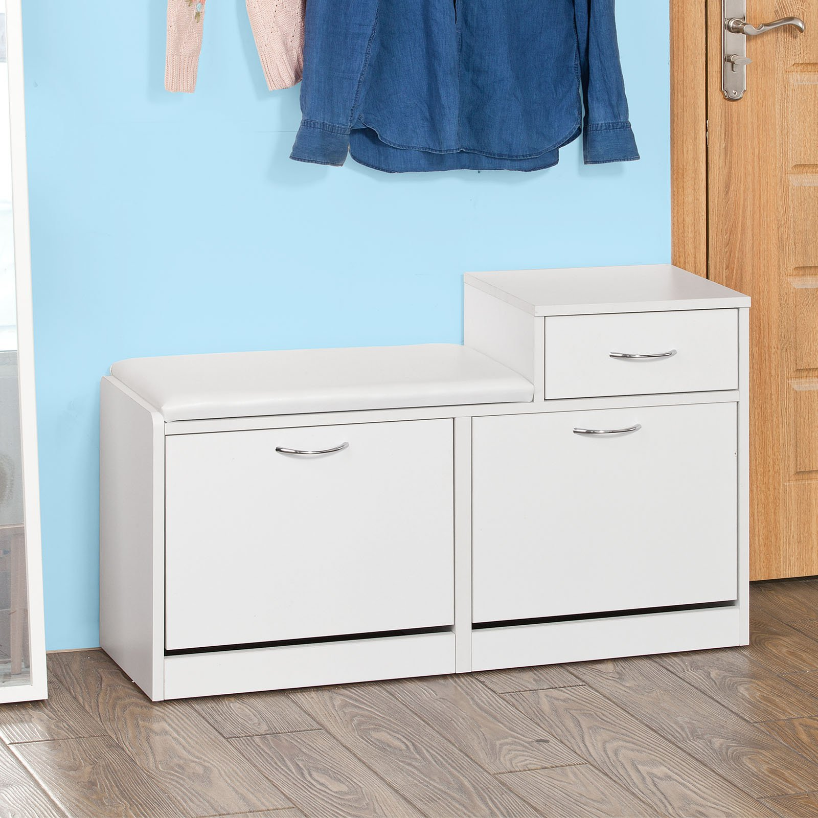 Haotian Shoe Storage Bench with Padded Seat and Drawer, Three Tiers Flip-drawer Shoe Cabinet, Gray , FSR17-DG