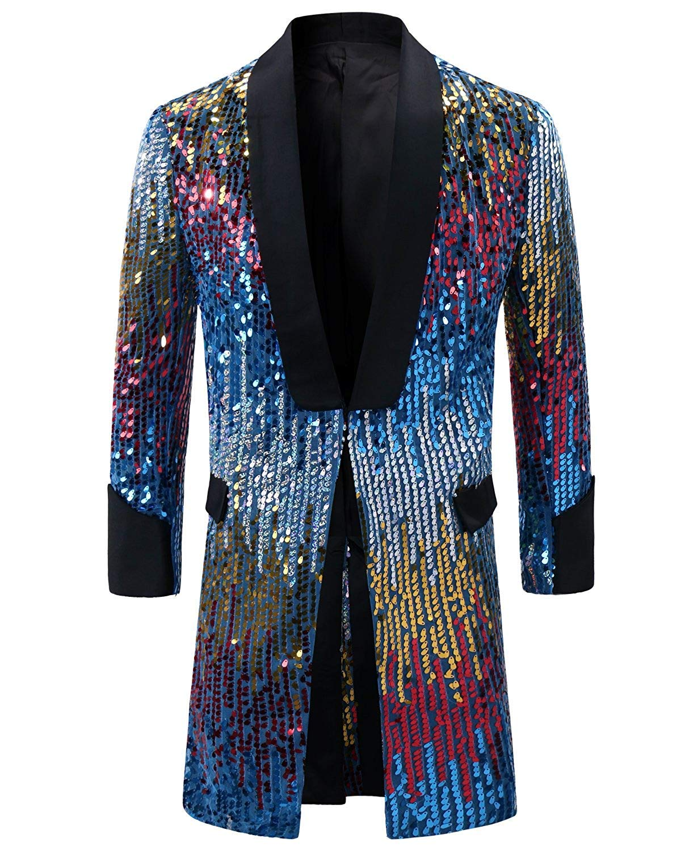 Men's Tuxedo Single-Breasted Party Show Suit Sequins Punk Jacket Blazer Blue by Cloudstyle