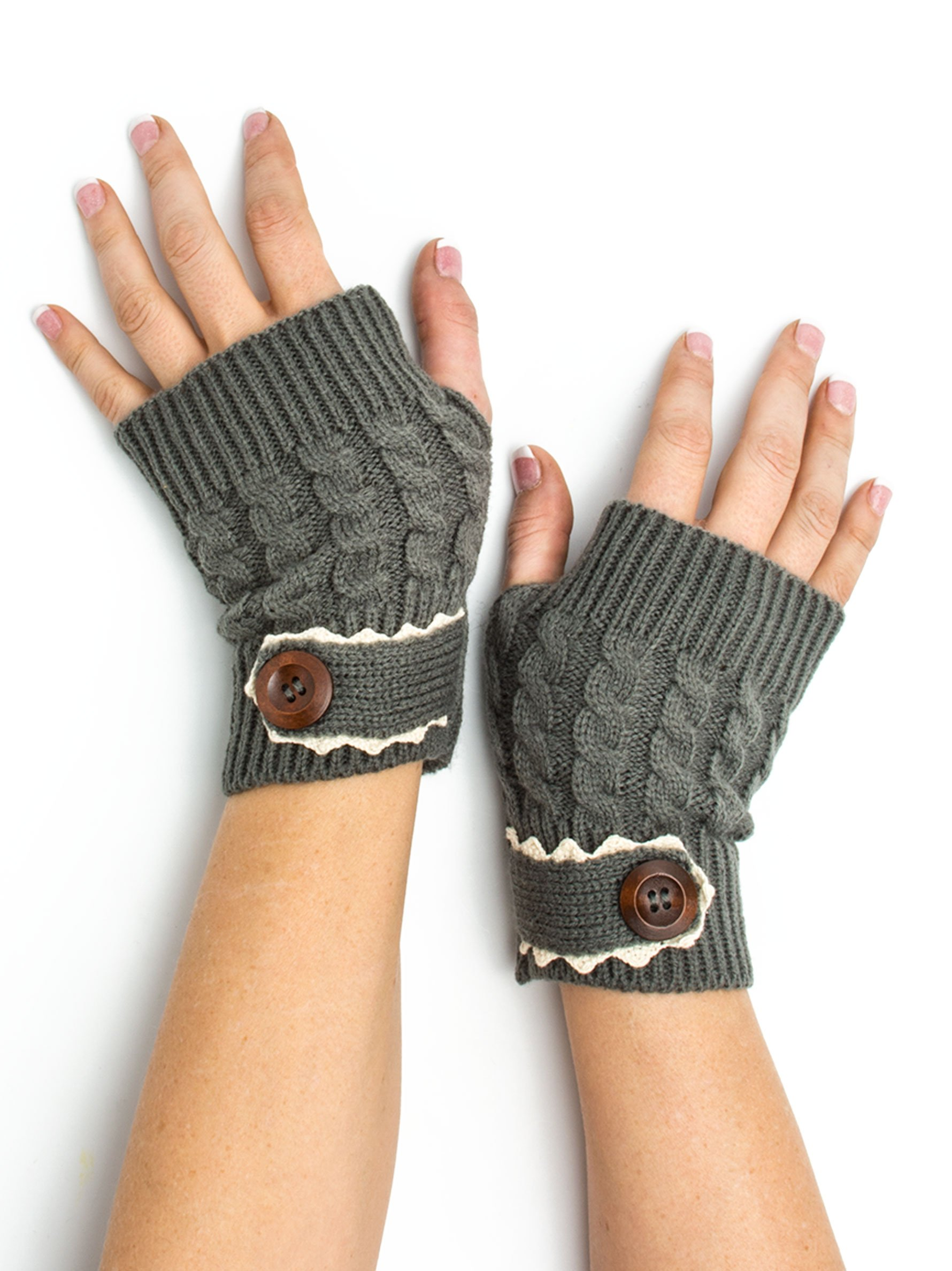 Bohomonde, Tawny Cable Knit Boho Mori Style Armwarmers/Fingerless Gloves with Crochet Lace (Rain Cloud)