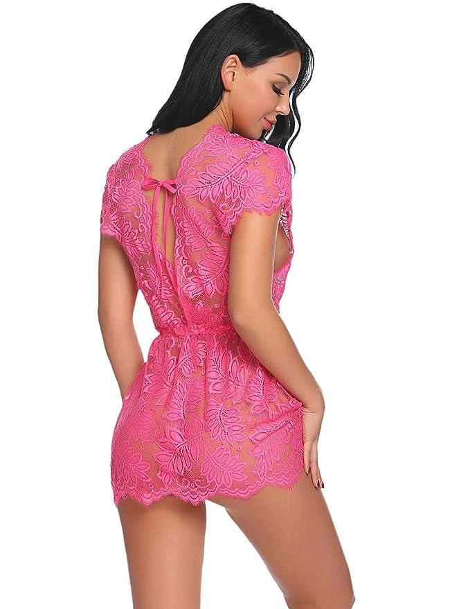 a70765757 Avidlove Mujer Lencería Sexy Manga Corta Pijamas Camisones Encaje Babydoll  con tanga 2 piezas  Amazon