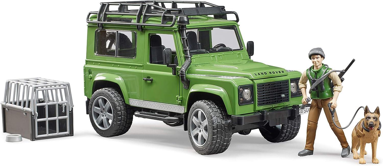 Coche de Juguete con silvicultura y Perro Bruder Land Rover Defender Station Wagon 02587