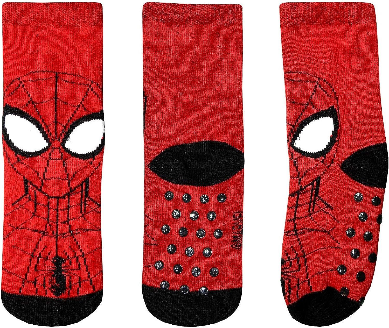 socks Calzini Antiscivolo Bambino Spiderman 2-6 Anni Cotone Rossi Neri Blu Disney Marvel Taglie da 23 a 31