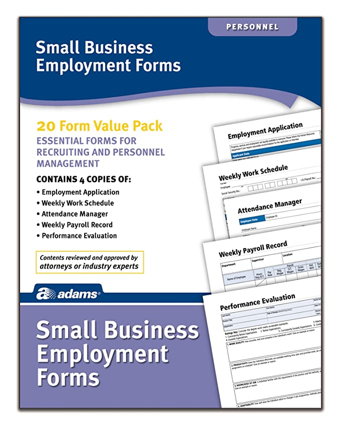 Adams Small Business Employment Forms 4 Each Of 5 Different Forms
