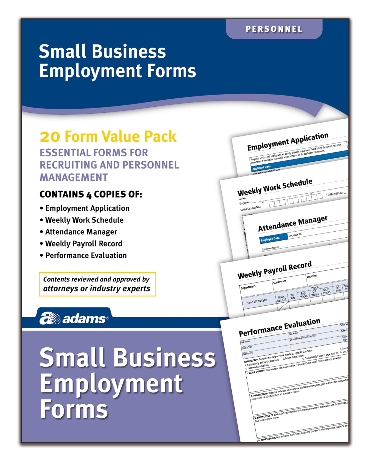 Adams Small Business Employment Forms, 4 Each of 5 Different Forms, Includes Instructions (HV100)