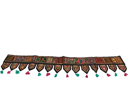 Indian Cotton Ethnic Wall Hanging Home Decor Vintage Patchwork Door Topper Valances Window Indian Valances Hand Embroidered Patchwork Toran Boho Bohemian Decor Living Room Decor ''80''