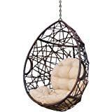 Christopher Knight Home 312592 Isaiah Indoor/Outdoor Wicker Tear Drop Hanging Chair (Stand Not Included), Multi-Brown…
