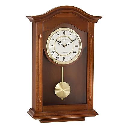 London Clock 25054 - Orologio a pendolo da parete, finitura in noce, con  rintocco \