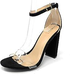 Womens Morris High Chunky Block Heel Pump Open Toe Strap Dress Sandals