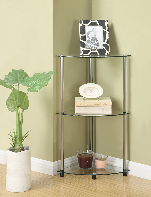 amazoncom convenience concepts designs2go goaccsense 3tier glass corner shelf clear glass kitchen u0026 dining