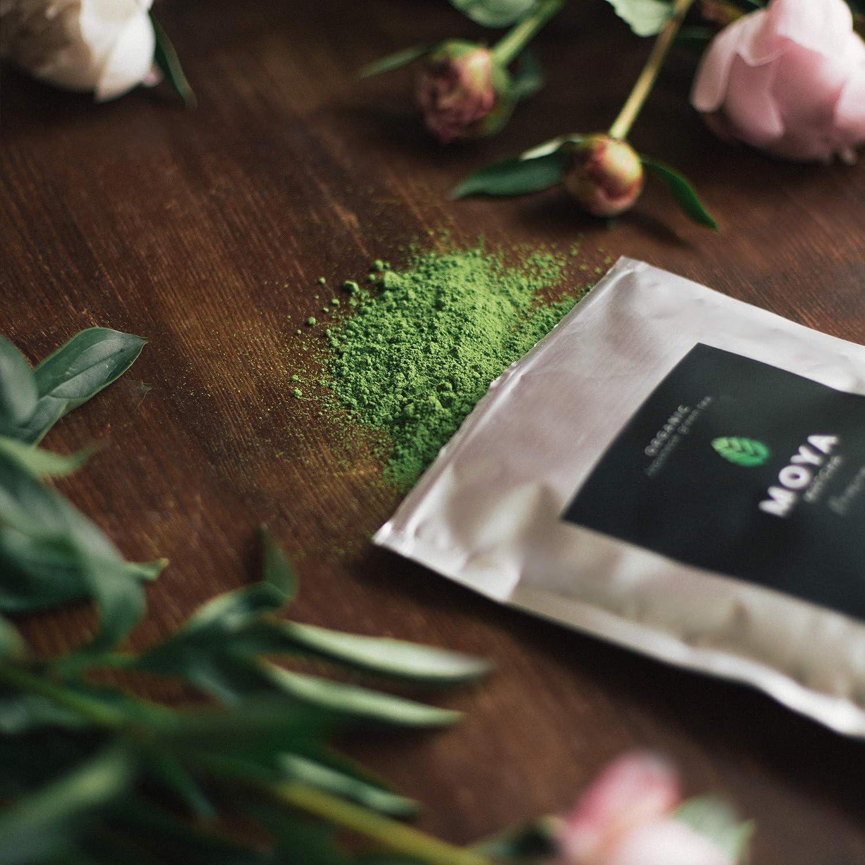Moya Matcha Té Verde Orgánico Japonés 100g Ceremonial Grado (I) | Cultivado y Cosechado en Uji, Japón | Más alto Calidad Matcha Disponible